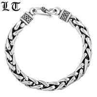 LT 925 Sterling Silver Wheat Hand Braided Bracelets Men Vintage Classic High Polished Lines Bracelet Jewelry For Female