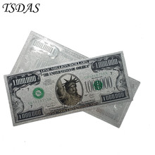 24k Gold Banknotes USA 1 Million Dollar Foil Bills Collections Currency Silver Fake Money Home Decor Bank Notes