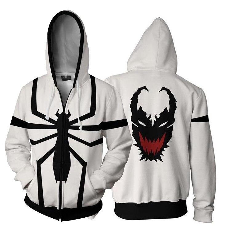 Fashion Movie Venom Black White Spider-man Hoodies Cosplay Costumes 3D Printing Zipper Hooded Jacket Sweatshirts Men Boys Tops
