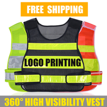 Adjustable mens women vest compony logo printing waistcoat with reflective crystal lattice for outdoor work and sport  free pos