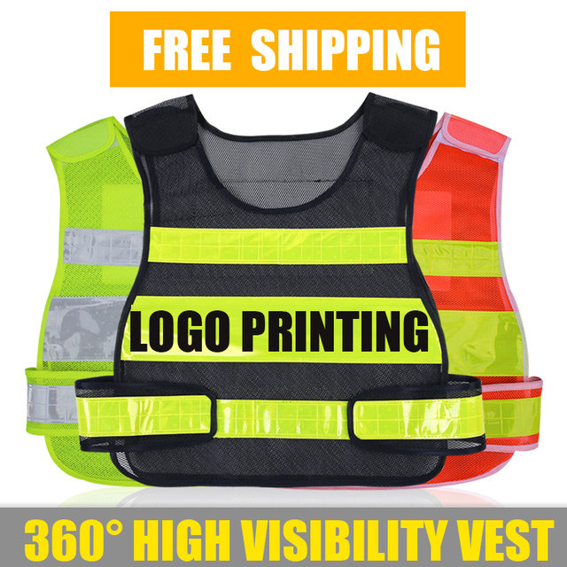 US $5 93 14% OFF|Adjustable mens women vest compony logo printing waistcoat  with reflective crystal lattice for outdoor work and sport free pos-in
