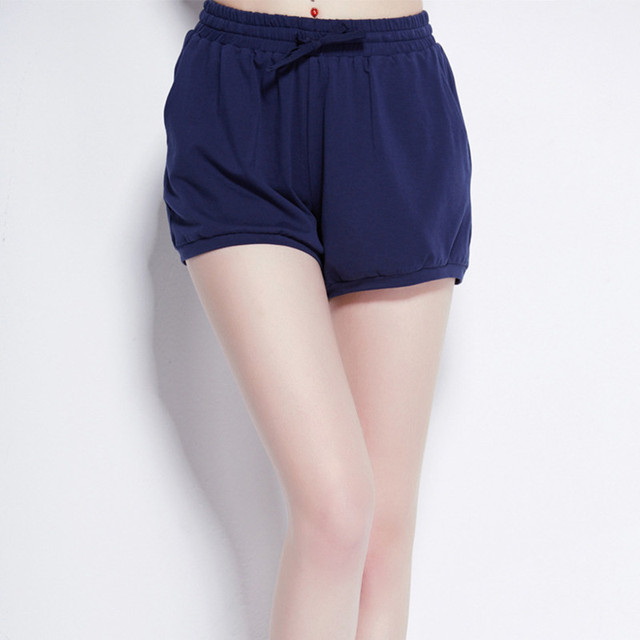 Pantalones de Pijama de algodón Pantalones Cortos de Verano Pantalones de Pijamas de Las Mujeres Pijamas de Ocio Simples Bolsas de Las Mujeres de Punto Pantalones Cortos de Sueño