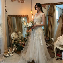 SexeMara V-neck A-line Wedding Dresses Sleeveless Tulle