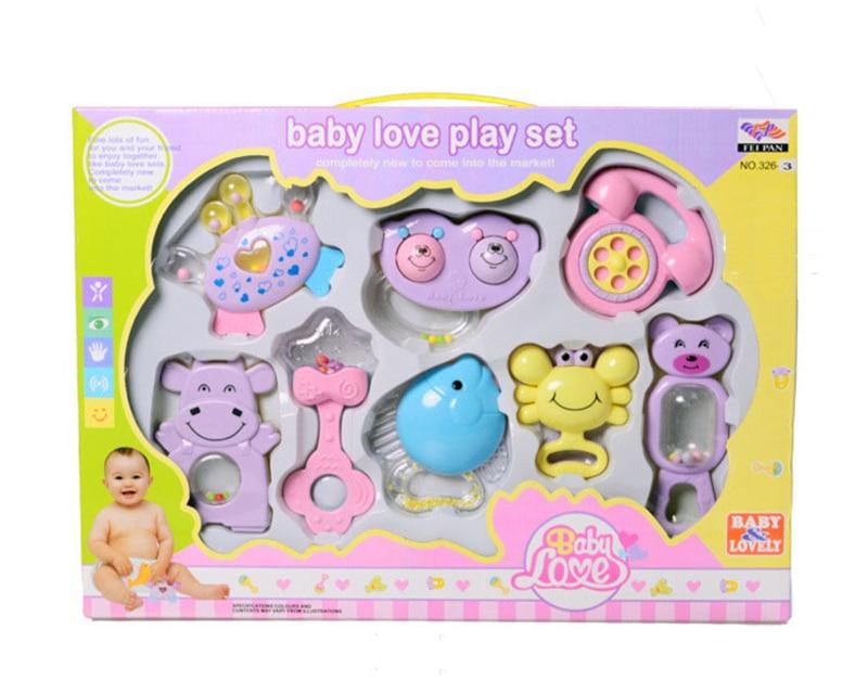 8 PCS vegyes doboz doboz Baby csörgők Teether Set korai - Csecsemőjátékok