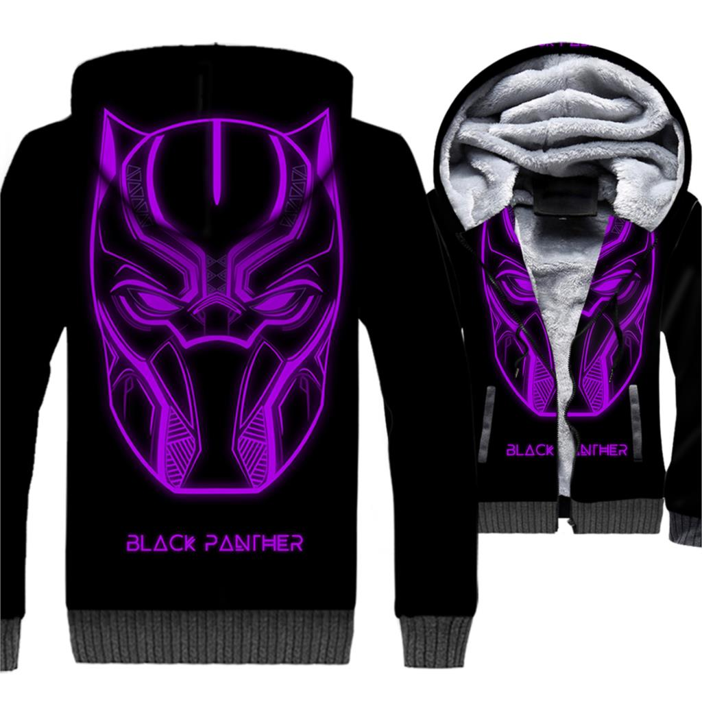 Super Hero Black Panther Movie Hoodies Men 3D Jackets Killmonger Sweatshirt Winter Thick Fleece Warm Hip Hop Cool Wakanda Coat