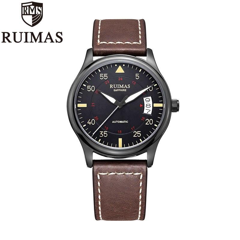 Ruimas التلقائي الميكانيكية ووتش رجل الفاخرة الأعمال الكلاسيكية Miyota أعلى العلامة التجارية مضيئة الذكور الساعات الرجعية ساعة اليد Relogio-في الساعات الميكانيكية من ساعات اليد على  مجموعة 1