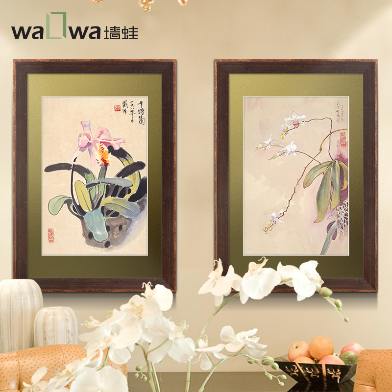 The four wall frog gentleman orchid Dai Ze the simplicity of modern Chinese restaurant wall hanging wall painting decorative pai