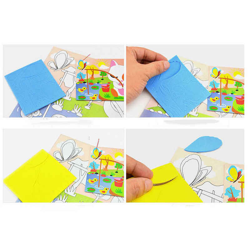DIY Handgemachte 3D Eva Schaum Puzzle Aufkleber Selbst-klebe Eva Handwerk Spielzeug Lernen & Bildung Spielzeug 18,5 cm * 26cm 1 Pcs