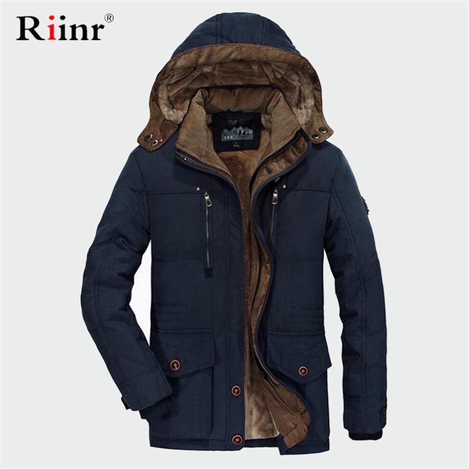 RUELK  Winter Jacket Men 5XL 6XL Cotton Padded Warm Parka Coat Casual Faux Fur Hooded Fleece Long Male Jacket Windbreaker Men