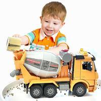Large Size simulation cement truck mixer toy vehicle model inertia concrete engineering tanker dump truck Children's boy gift