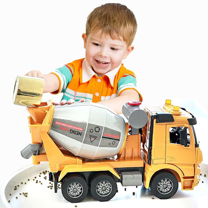Large Size Simulation Cement Truck Mixer Toy Vehicle Model Inertia Concrete Engineering Tanker Dump Truck Children's Boy Gift