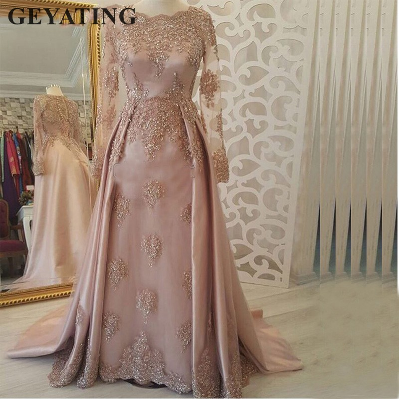 Saudi Arabic Muslim Long Sleeves Pink   Evening     Dress   2019 Kaftan Dubai Prom Party   Dresses   Elegant Lace Appliques vestido de gala