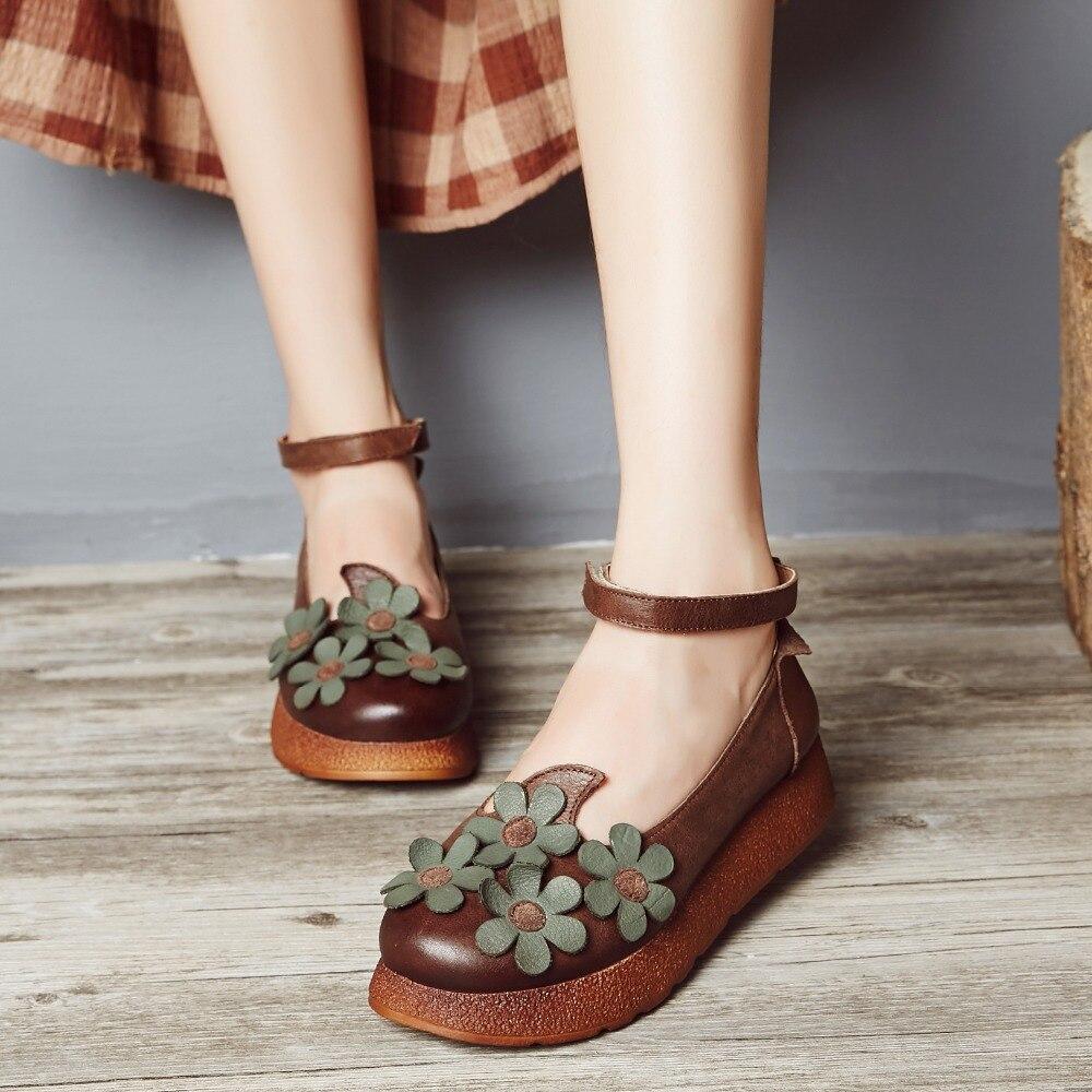 Chaussures Plate Forêt 2018 Printemps Fleurs forme Simples Première Peau Kaki Bouche Peu Vache D'été Couche Main La À Femmes De Profonde Et Nouvelle 6HrF67Aq