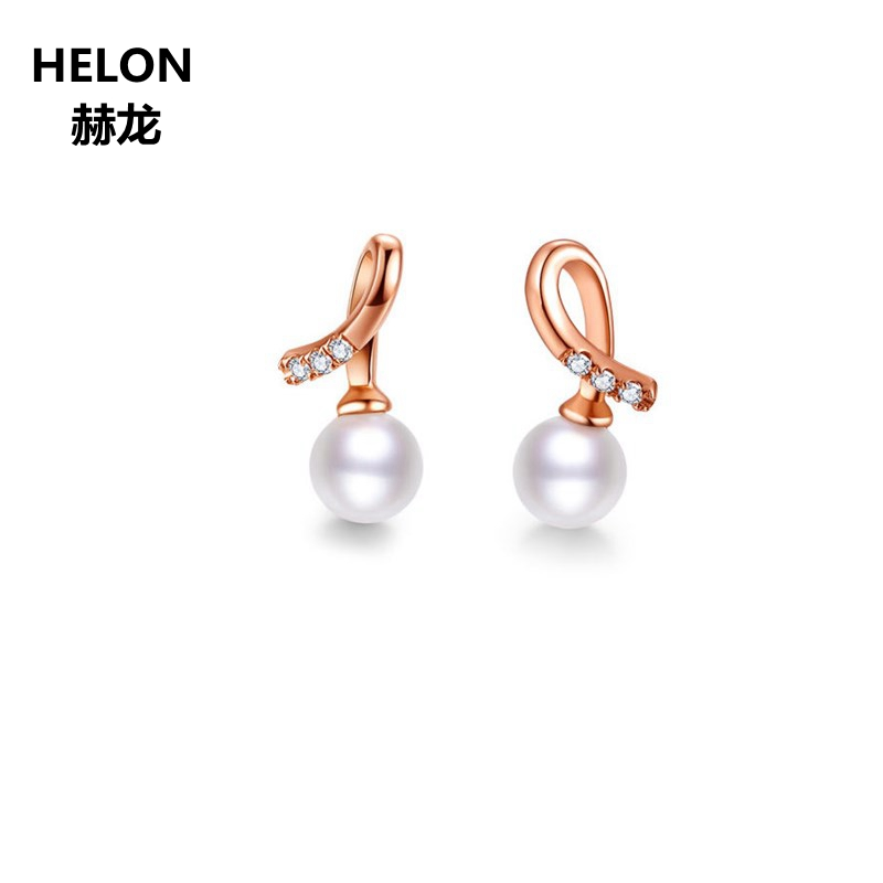 Solid 14k Rose Gold Women Stud Earrings 4.5mm Freshwater Pearl SI/H Natural Diamonds Fine Jewelry copper jewelry leopard head hanging pearl stud earrings tiger head green rhinestone black stud earrings for women