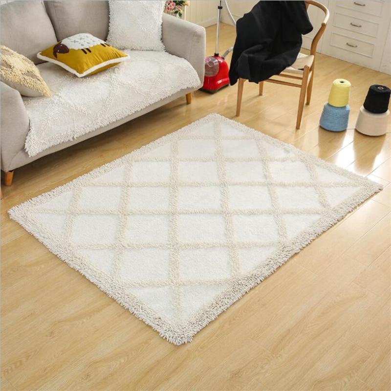 Simple Cotton Soft Hand Woven Design Carpets For Living Room Bedroom Kid Room Rugs Home Carpet Delicate Floor Door Mat Area Rug