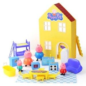 Image 4 - פפה חזיר ג ורג משפחת חברים צעצועי בובת מודל סצנה אמיתי פרק שעשועים בית PVC פעולה דמויות צעצועים