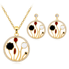 Enamel Lotus And Leaf Jewelry Set Statement Necklace Drop Earring Women Copper Alloy Chinese Style