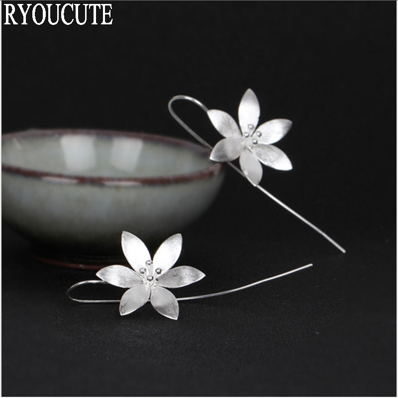 New Design Silver Color Lotus Flower Drop Earrings For Women Christmas Girls Gift Fashion