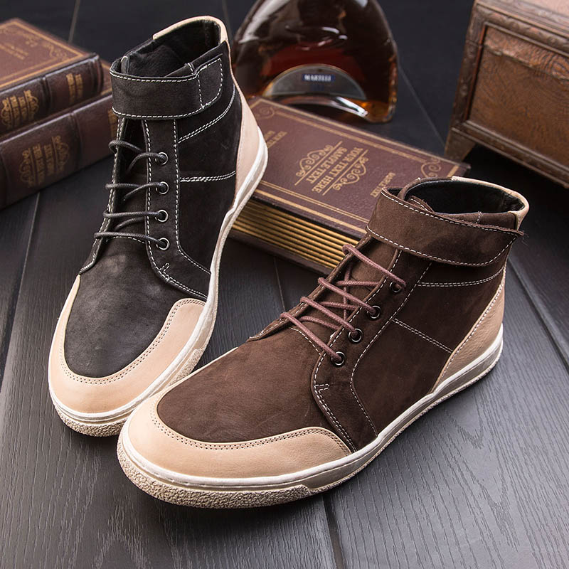 Retro high shoes male winter leather British men's shoes trend leisure shoes men's matte Korean students Martin boots LF909-3