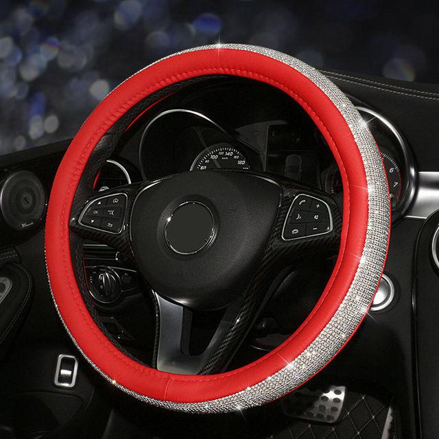 fly5d 38 cm luxury crystal diamond car steering wheel cover pu