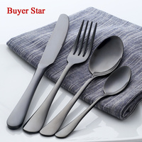 24 Pcs Lot Black Cutlery Set 18 8 Stainless Steel Top Quality Metal Knifes Forks Teaspoons