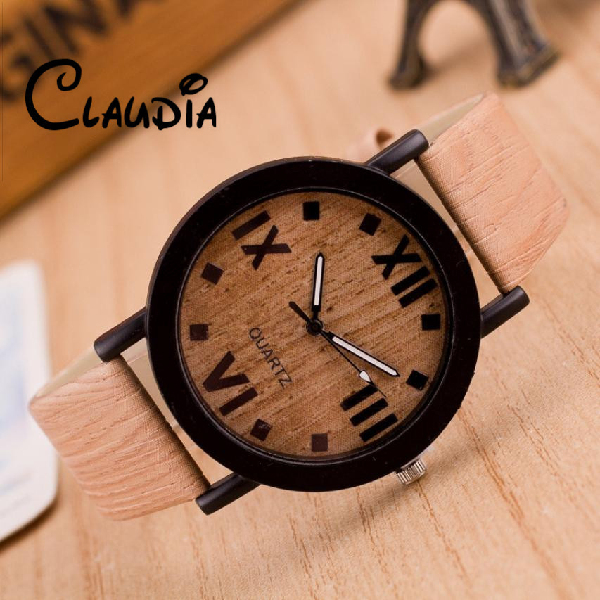 CLAUDIA 2016 Luxury Brand New Wooden Watch Roman Numerals Round Wood Leather Band Elegant Men Analog Quartz Vogue Wrist Watches bewell men wooden watch black sandal wood roman numerals date wrist watches luxury men s round dial full wood relogio masculino