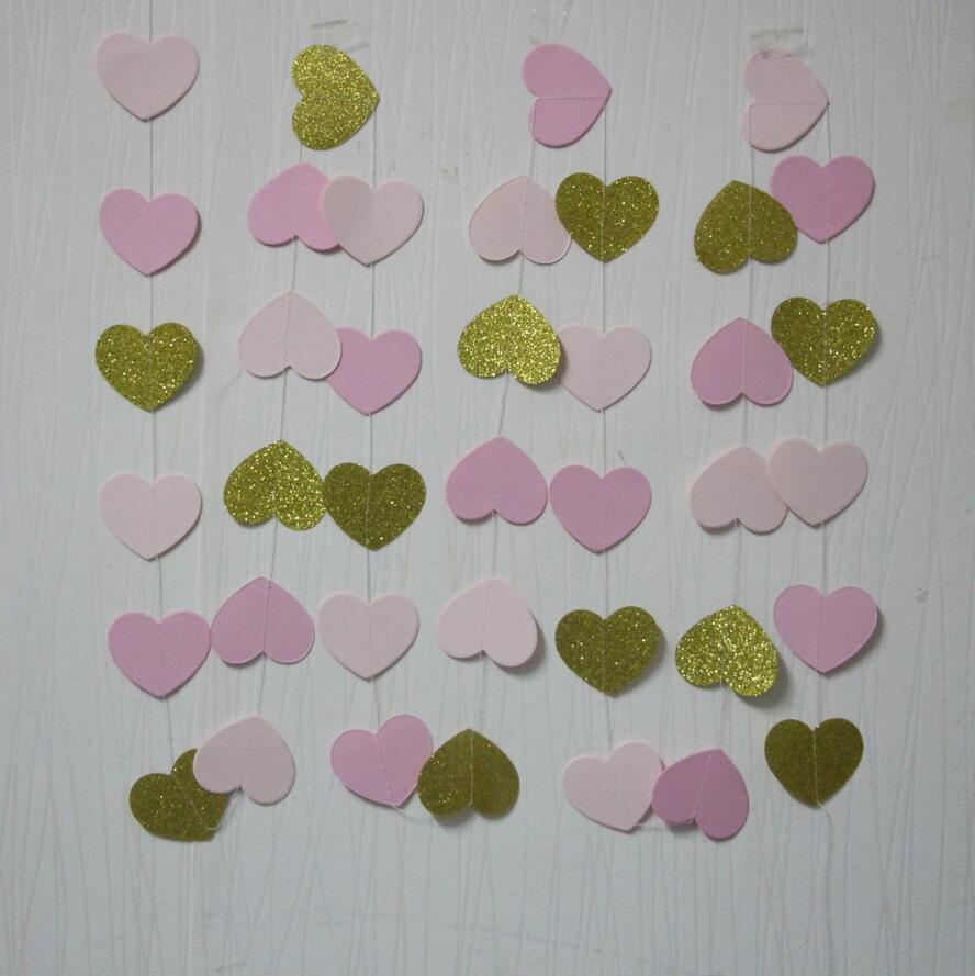 Bridal shower party supplies -  5pcs Lot Pink Gold Heart Garland Girl Birthday Decor Wedding Party Supplies Bridal