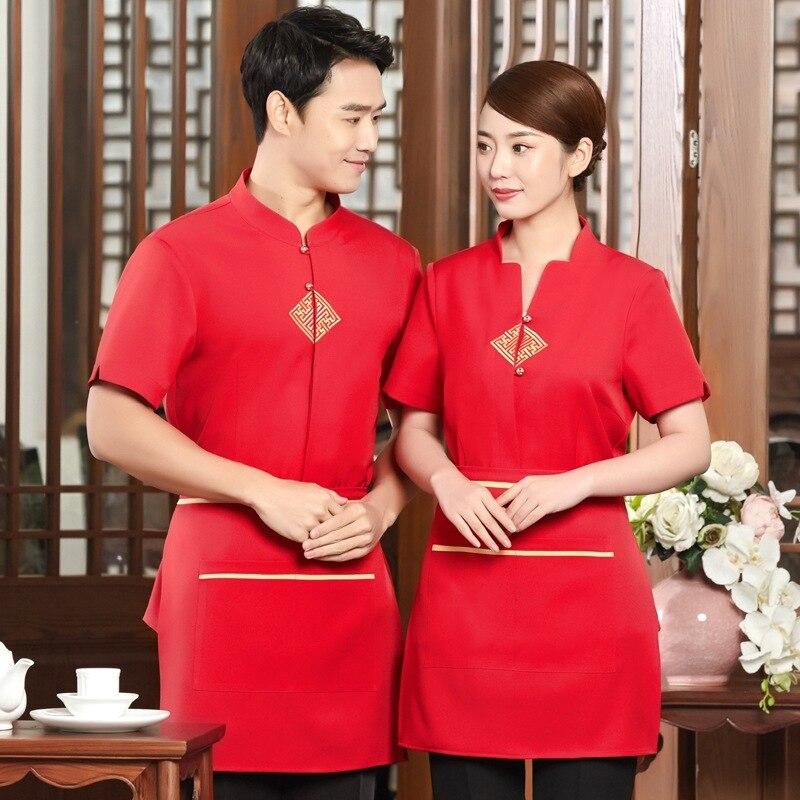 Hotel Work Clothes Short Sleeves Women Waitress Catering Hot Pot Restaurant Uniform Coat Chinese Tea House Waiter Jacket H2172