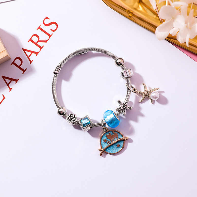 2018 New Japan Korea DIY Stainless Steel Adjustable Cat Starfish Star Crystal Beads Bangles for Girl Women Accessories