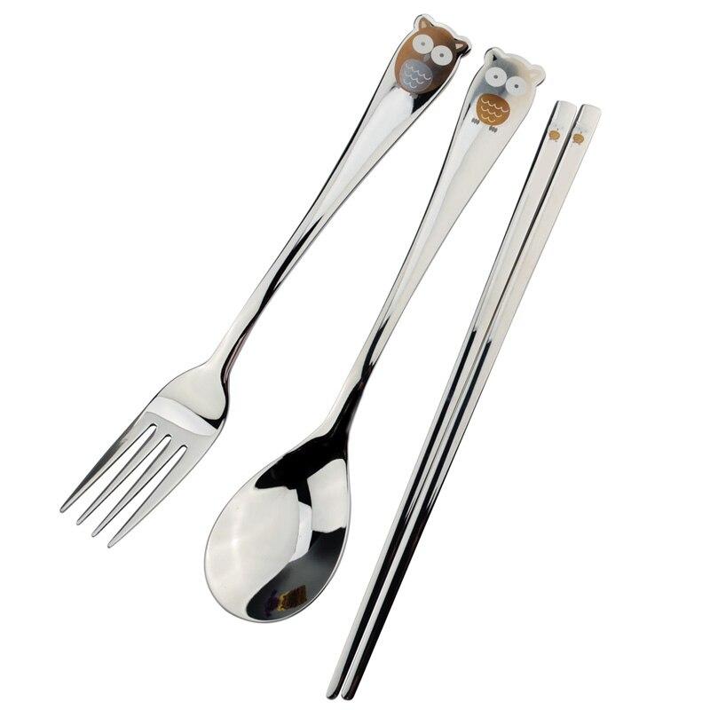 3 Pcs Set Stainless Steel Tableware Set Rice Soup Spoons Chopstick Fruit Fork Lovely Cartoon Long