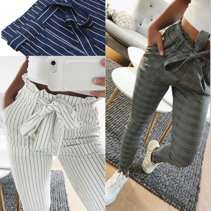 2019 Autumn Winter Women's Casual Loose High Waist Plaid Long Pencil Pants with Bow Tie Belt Trousers Hot Sale