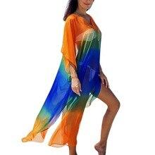 2019 Women's summer dress V Neck Color Block Beach Three Quarter Sleeve Loose Cover Up Chiffon dress vintage color block long sleeve pin up dress