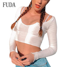 FUDA Sexy Micro-transparent Pits with Long Sleeve Shirt Elegant Umbilical Big U-neck T-shirt Female Summer Blusas Femininas