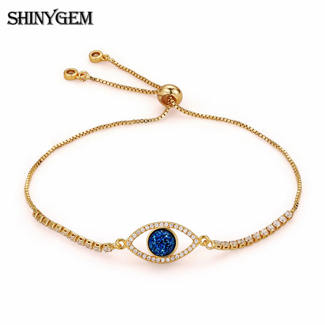 Shinygem Evil Eye Crystal Bracelets Delicate Inlaid Zircon 24k Gold Plating Charm Adjule Chain