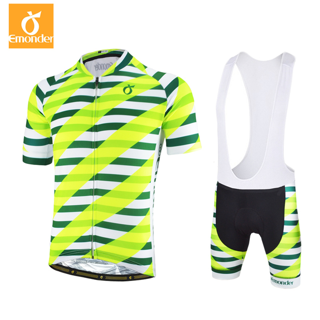 EMONDER Cycling Jersey Set Men Summer Breathable Short Sleeve Bib shorts Cycling Suit green Team MTB Bike Cycling Clothing