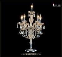 Luxus-mode 5 lichter kristall tischlampe schlafzimmer lampe cognic farbe E14 kerze kristall lampe hochzeit dekoration tischleuchte