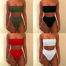 Высокая талия, Одноцветный, сексуальный, высокая талия, бикини, бандо, для женщин, плюс размер, одежда для плавания, Biquinis Feminino, купальник, пляжная одежда