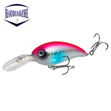 HAODIAOZHE Hot Crank Bait Topwater 3D Fish Eyes 2 Bass Treble Hooks Crazy Lifelike Swimbaits 10cm 14g Ocean Peche Pesca YU195