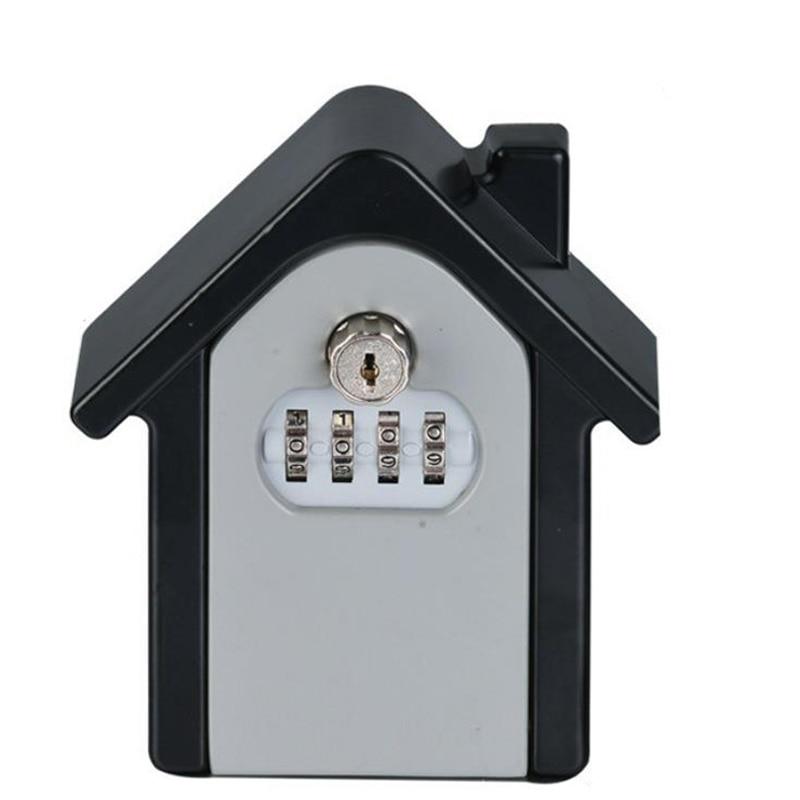 Password & Key Lock Security Storage Manager Box 4 Digit Password Metal Secret Safe Box Home Office Key Hidden Security DHZ017