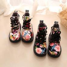 Winter Children Girls Boots Elegant Floral Flower Print Cute Kids Baby Martin Shoes Warm Comfortable Plush Snow Boots For Girl(China)