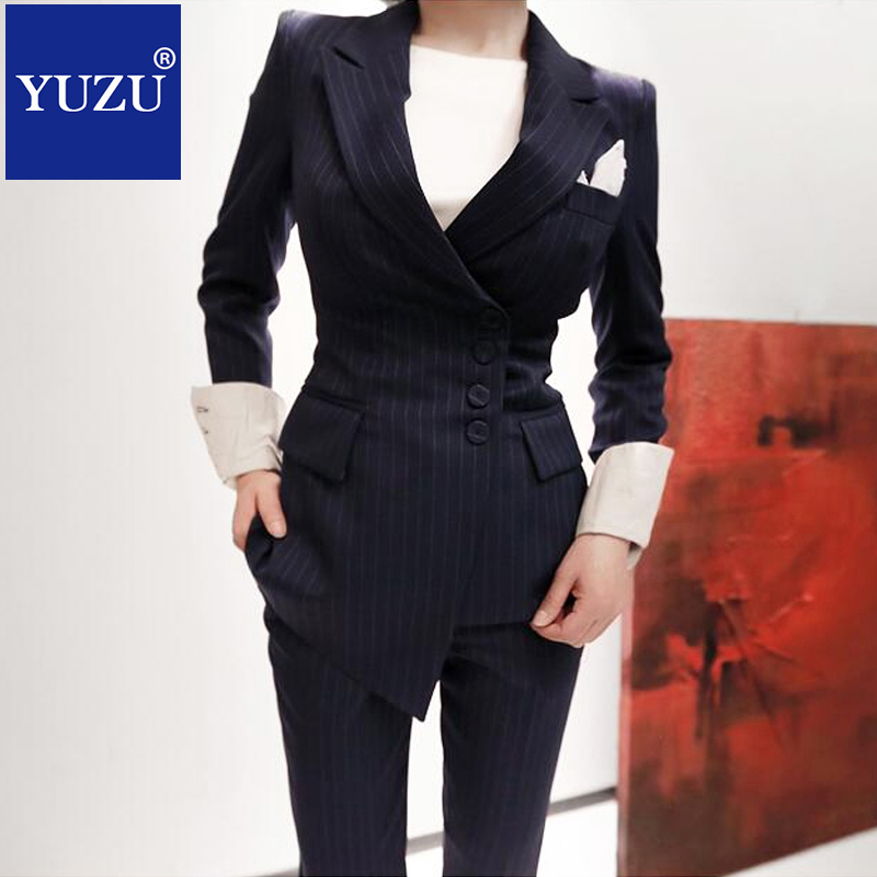 Formale Anzug Dark Blazer Korean Frauen Zweireiher Blue Gestreiften Pants Anz Business Set DHWEIY29