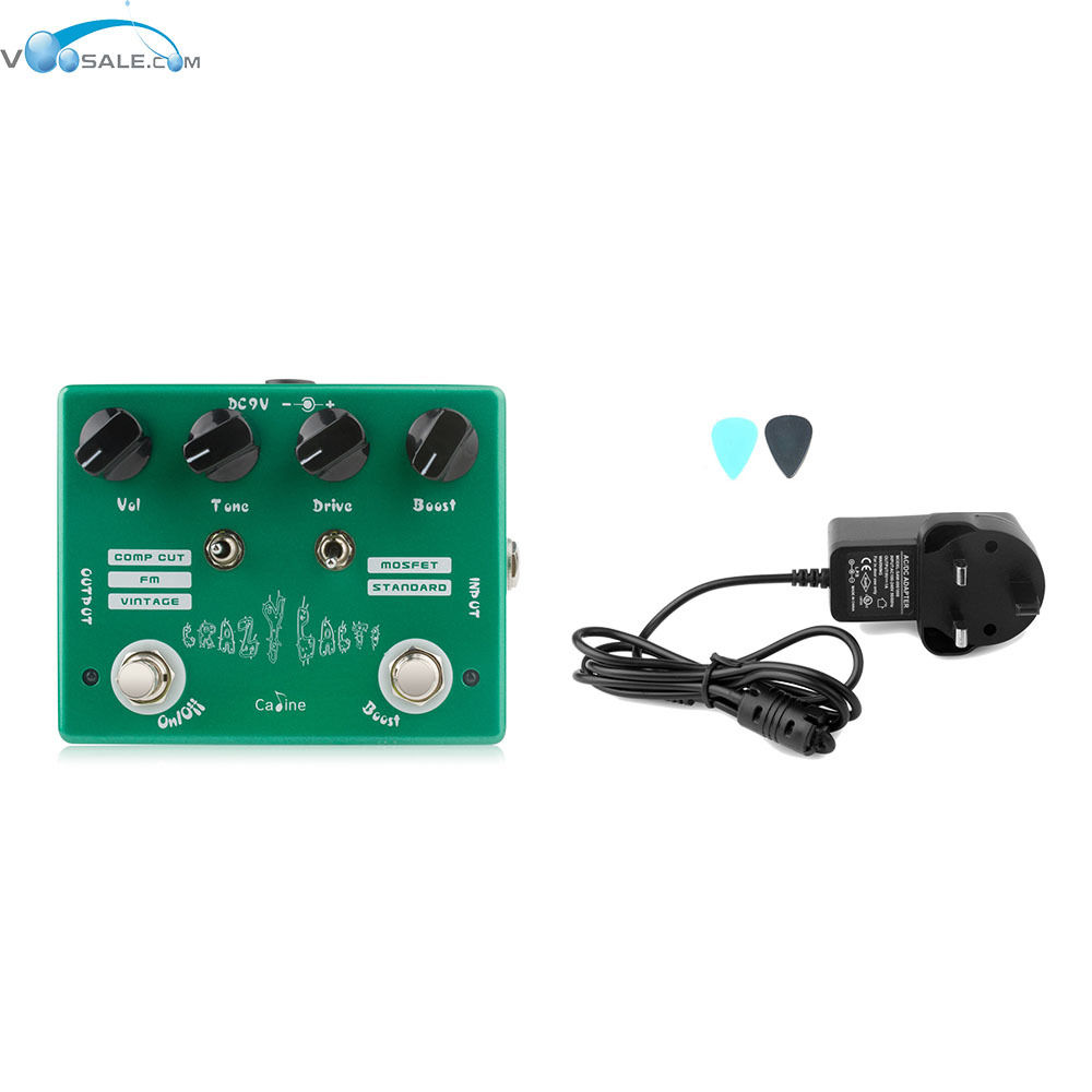 цена на Caline CP-20 Crazy Cacti Overdrive Effect Pedal True Bypass Design+AC100V-240V to DC9V/1A Adapter Use Have AU UK US EU Plug
