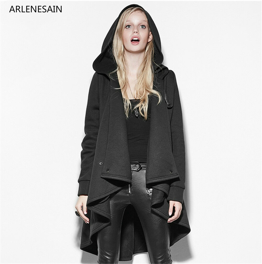 Arlenesain custom 2019 Новая мода Панк Мода женщин стимпанк куртка в готическом стиле пальто черный свитер ведьма плащ