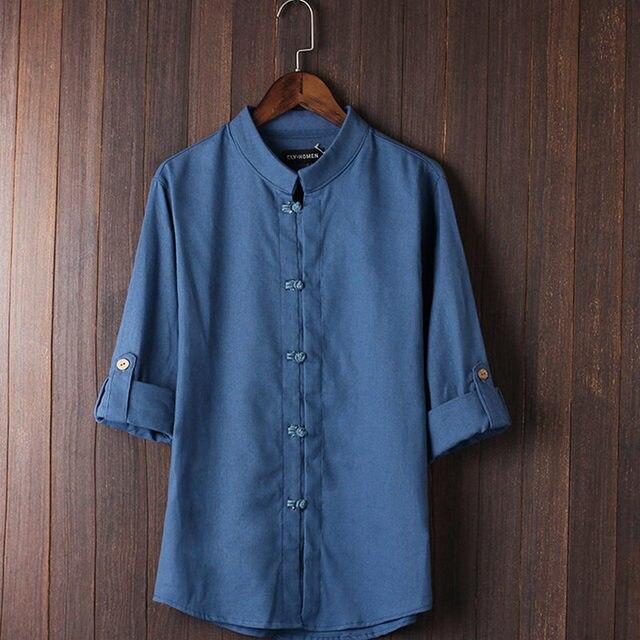 2018 китайский стиль льна летние Штаны вышитые пряжи Мужская рубашка мужская рубашка с длинным рукавом Мужская Ретро хлопчатобумажная рубашка