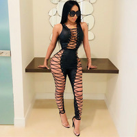 Free Shipping 2018 Hot Sale Chic Side Hollow Out Cross Criss jumpsuit Sexy Deep V neck Women Bodysuit Bandage long Jumpsuit