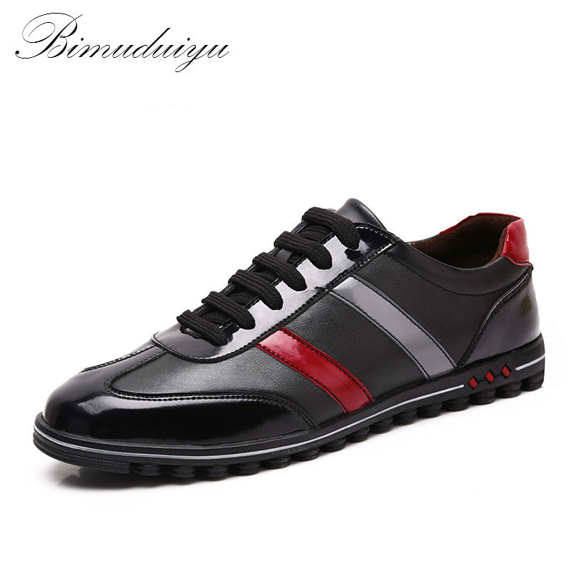 BIMUDUIYU Fashion Genuine Leather Men Casual Shoes Quality Leather Men Shoes Plus Size Design Comfortable Shoes For Men 38-46 genuine leather men casual shoes plus size comfortable flats shoes fashion walking men shoes