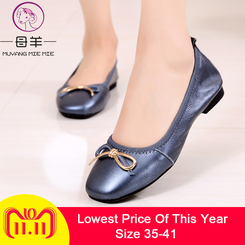 MUYANG MIE MIE Women Ballet Flats Plus Size Women Shoes Woman Casual Flat Shoes Genuine Leather Loafers ladies shoe Women Flats 2018 new genuine leather flat shoes woman ballet flats loafers cowhide flexible spring casual shoes women flats women shoes k726