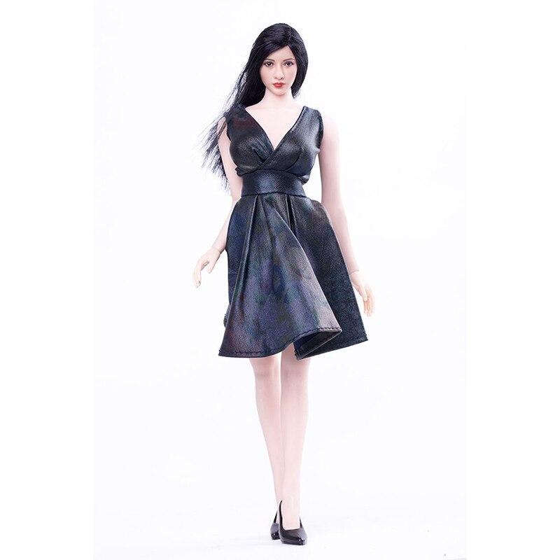 二つの色1/6モンロー深いvネックドレススカートフィット女性ボディ図アクセサリー黒と青