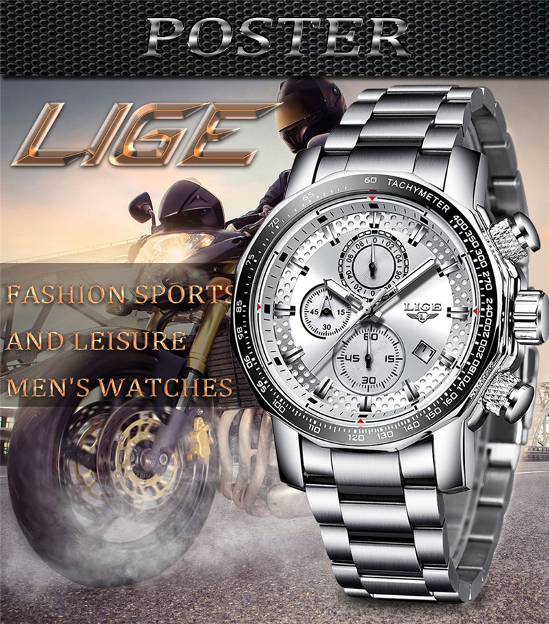 Relogio Masculino 2019 New LIGE Mens Watches Top Brand Luxury Sport Quartz All Steel Male Clock Military Waterproof Chronograph in Quartz Watches from Watches