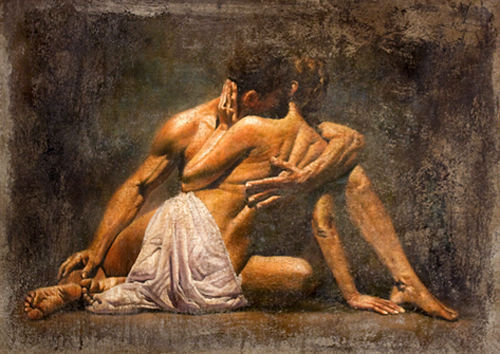 Romantic Young Lovers Warm Kiss Hand Painted Oil Painting On Canvas No Frame